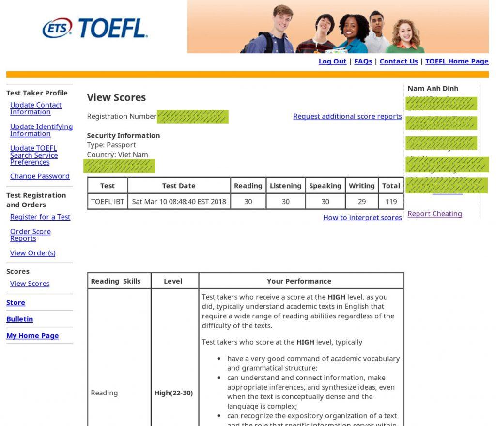 Đinh Nam Anh 119 TOEFL